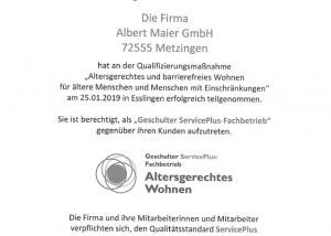 """Zertifikat """"Altersgerechtes Wohnen"""""""