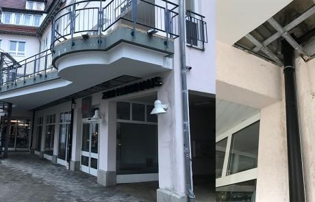 Im Zuge der Flachdachsanierung wurde festgestellt, dass die Unterkonstruktion der abgehängten Decke nicht für den Außenbereich geeignet war und bereits angefangen hatte zu korrodieren.