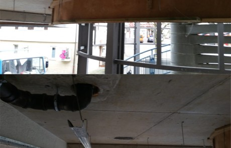 Die komplette Decke wurde demontiert und die Unterkonstruktion durch eine sonderverzinkte ersetzt.