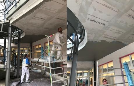 Beplanktung mit aquapanel-cement-boards, speziell für den Außenbereich zugelassene Trockenbauplatten, die dann gespachtelt und geschliffen wurden.
